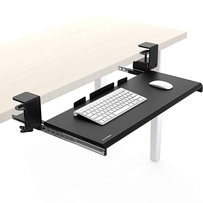 Alloyseed Under Desk Keyboard Tray Clamp On Removable Ergonomic Keyboard And Mouse Drawer Platform Smoot Desk Adjustable Office Desks Desk With Keyboard Tray