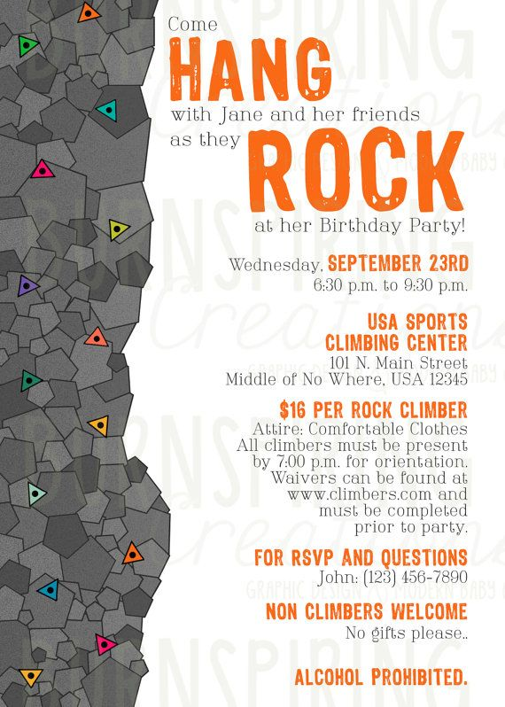 Best Rock Climbing Party Images On Pinterest Crafts Favors - Birthday party invitations rock climbing