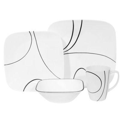 Corelle 16 Piece Square Dinnerware Set - Simple Lines Dishes Jen picked out.
