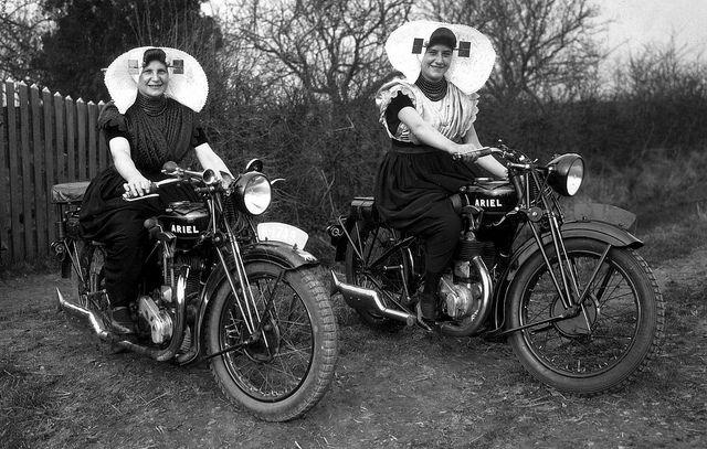 Zeeland....Dutch women on Ariel motorbikes #Zeeland #ZuidBeveland #protestant