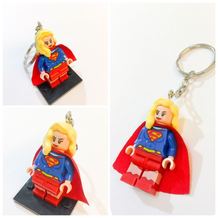 A personal favorite from my Etsy shop https://www.etsy.com/listing/235887285/lego-supergirl-keychain-lego-superhero