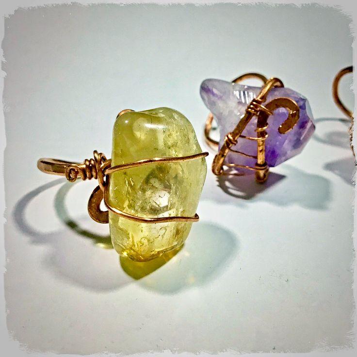 Anelli con quarzo citrino e ametista https://www.facebook.com/miriam.turoldo.gioiellifantasy/ Wire wrapping