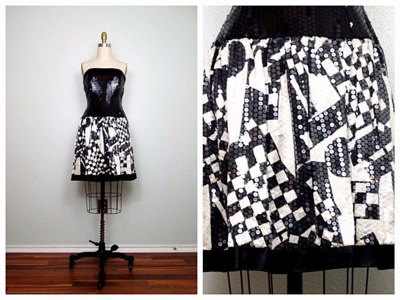 RETRO Sequin Dress // Black and White Sequined Dress // by braxae