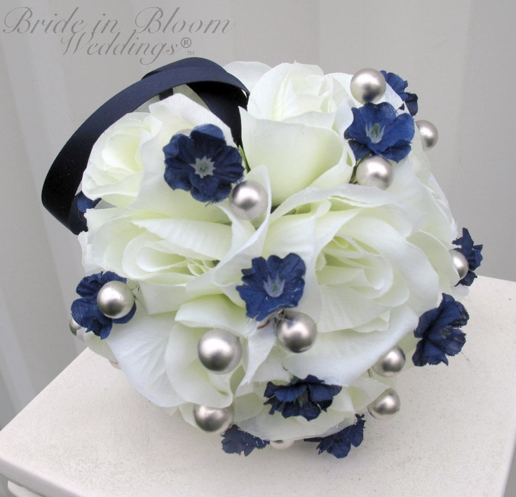 Wedding Flower Balls Pomander Silver Gray Navy Blue Ivory