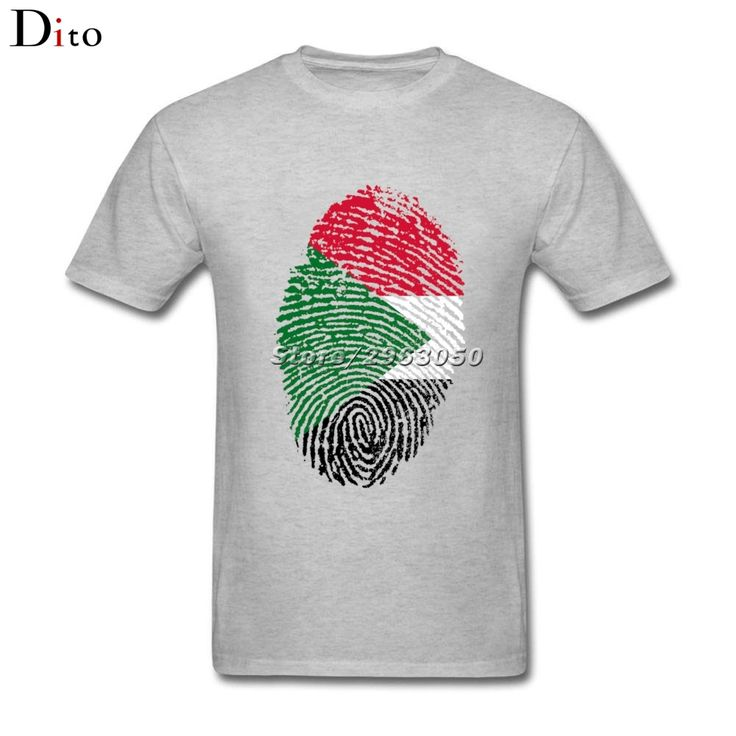 Sudan Flag Fingerprint T Shirt Men's Crazy Short Sleeve Fashion Custom Plus Size Family  Camiseta #Affiliate