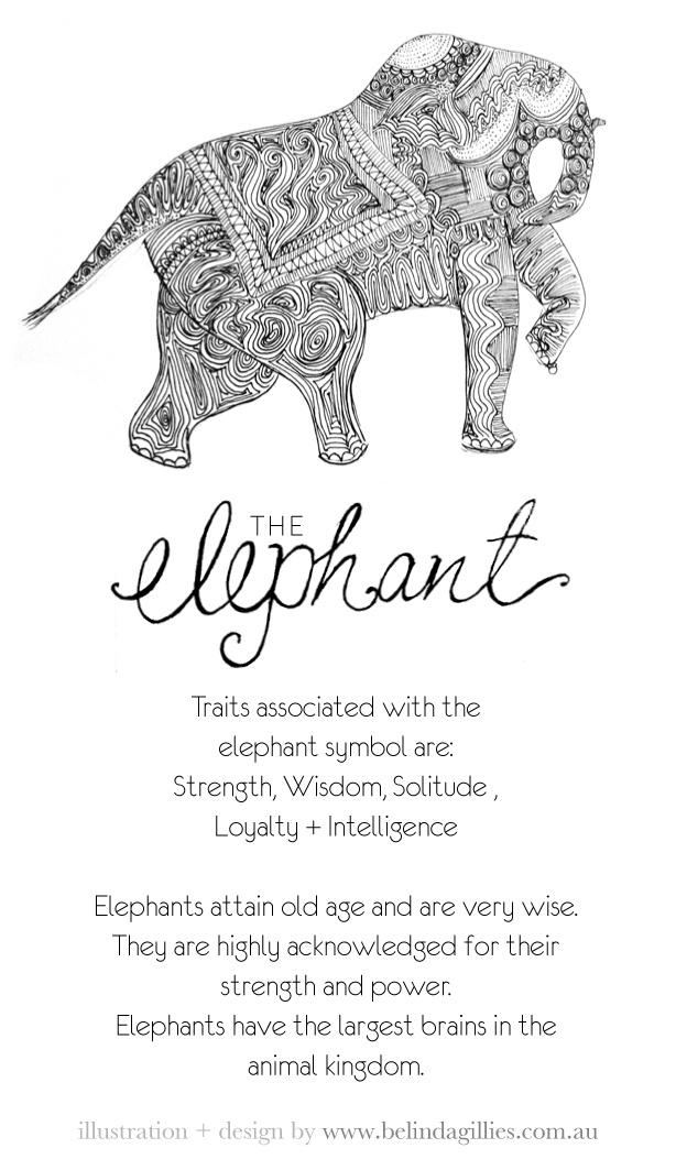 elephant line art card