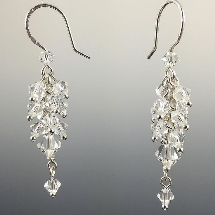 Swarovski Crystal & Sterling Silver Cluster Earrings