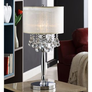 @Overstock - Add some flair and elegance to your home with this chrome-finished crystal table lamp from Silver Mist. This lovely lamp's faux-silk shade combined with dangling crystal ornaments and polished chrome creates a sophisticated ambiance for any room.http://www.overstock.com/Home-Garden/Silver-Mist-3-light-Crystal-Chrome-Table-Lamp/6002817/product.html?CID=214117 $151.99