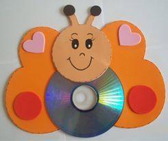 EL ARTE DE EDUCAR: RECICLANDO LOS CDs Una mariposa