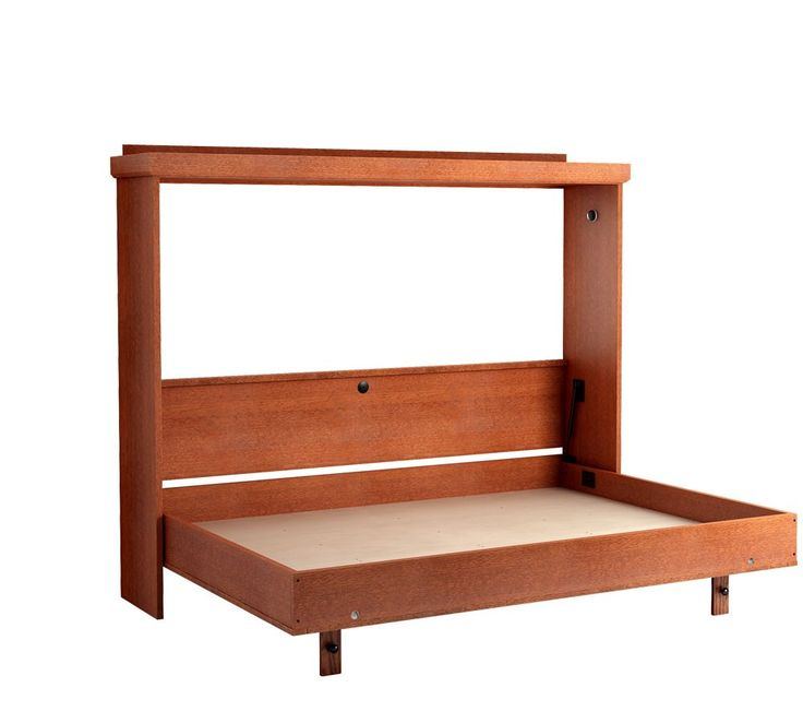 The Revera Horizontal Murphy Bed in Oak - Cherry Finish. Shown with bed open