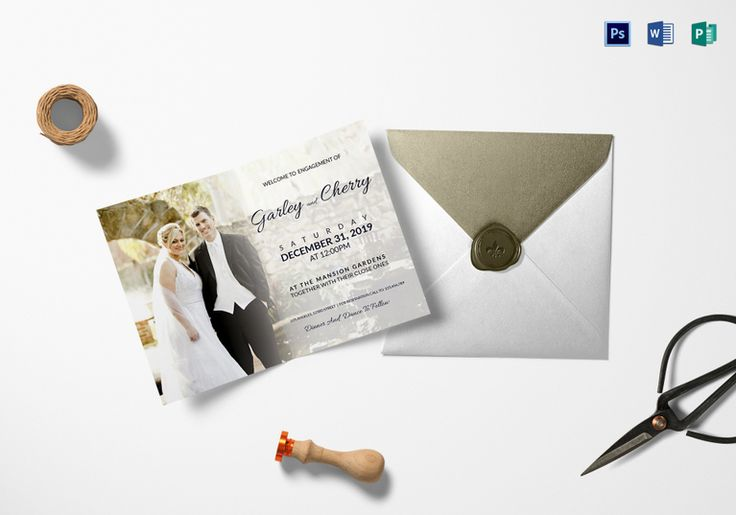 Classic Engagement Invitation Template  Formats Included : MS Word, Photoshop, Publisher File Size : 6.25x4.25 Inchs  Product Details: $9.99  #ClassicEngagementInvitation
