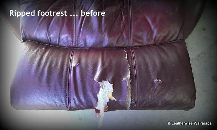 Leather La-z-boy recliner with badly damaged footrest.