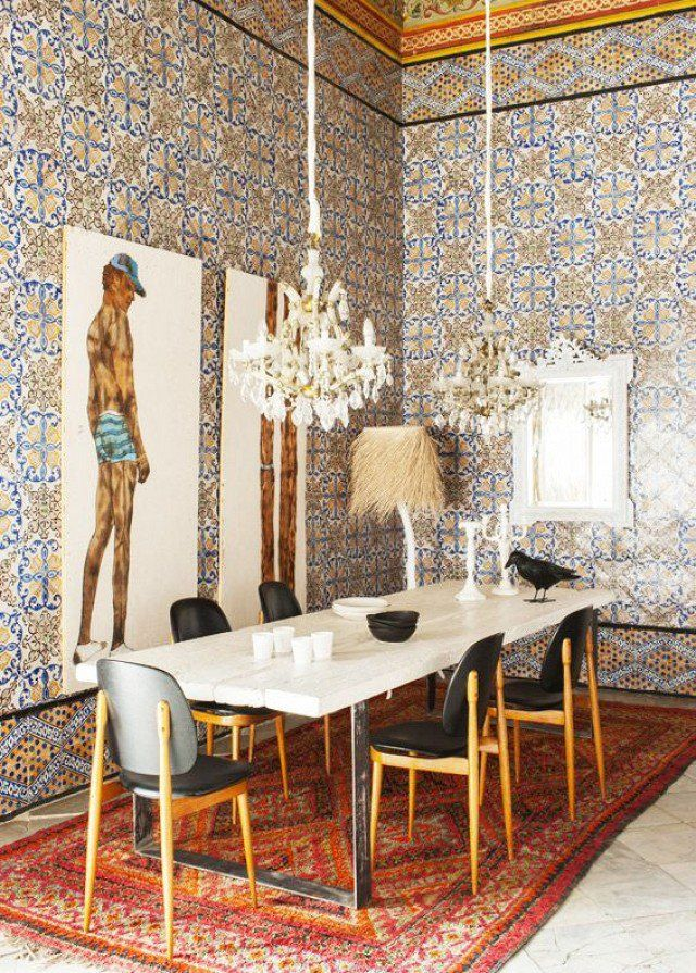 We Love This Patterned Wallpaper With Creme Dining Table