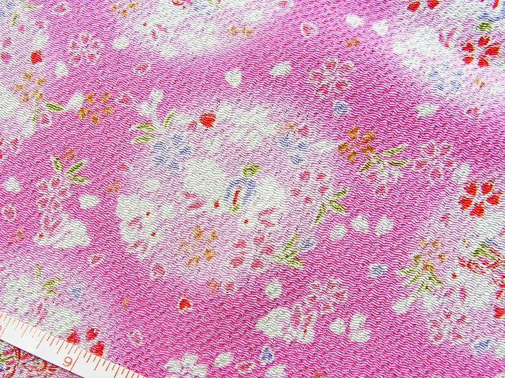Luck bunnies in pink,Japanese kimono fabric chirimen Gold Metallic Glitters by chirimenbunny on Etsy
