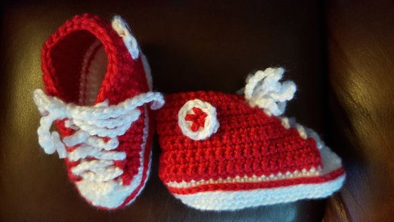 Hey, I found this really awesome Etsy listing at https://www.etsy.com/ca/listing/273938140/classic-red-crochet-baby-converse