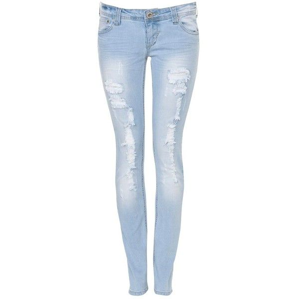 Parisian 32in Light Blue Rip Skinny Jean ($42) ❤ liked on Polyvore