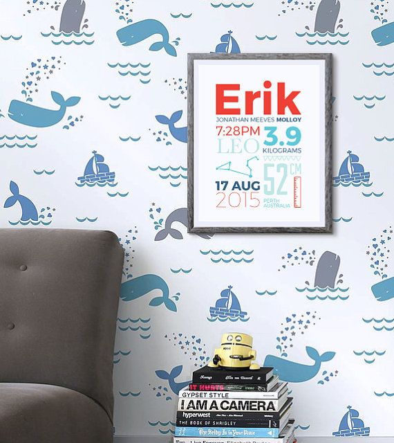 This modern personalised birth print is the perfect way to commemorate the birth of a new family member. It will look fabulous in a nursery or childs bedroom and is a great gift for a newborn or first birthday.  • Choose from 5 custom colours • Available in A2, A3, A4 or A5 • Digital or printed • Custom personalised text  • Printed copies INCLUDE Australia wide SHIPPING and are printed on a thick premium quality paper producing a professional, archival quality print…