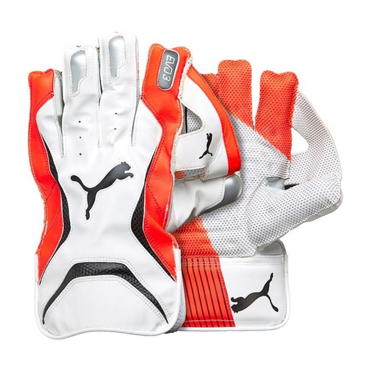 Puma 2018 Evo 3 Cricket Wicket Keeping Gloves - White/Orange - Mens