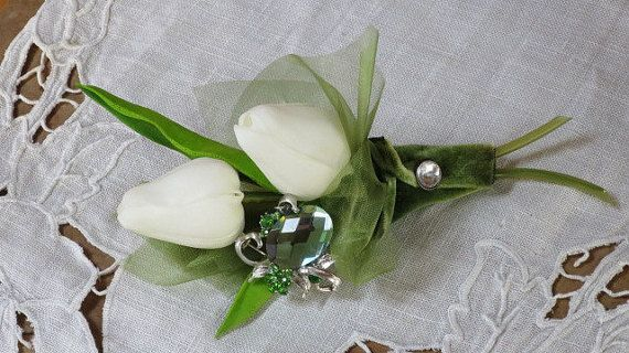 French Cottage Garden Jeweled Boutonniere by HeirloomsInElegance