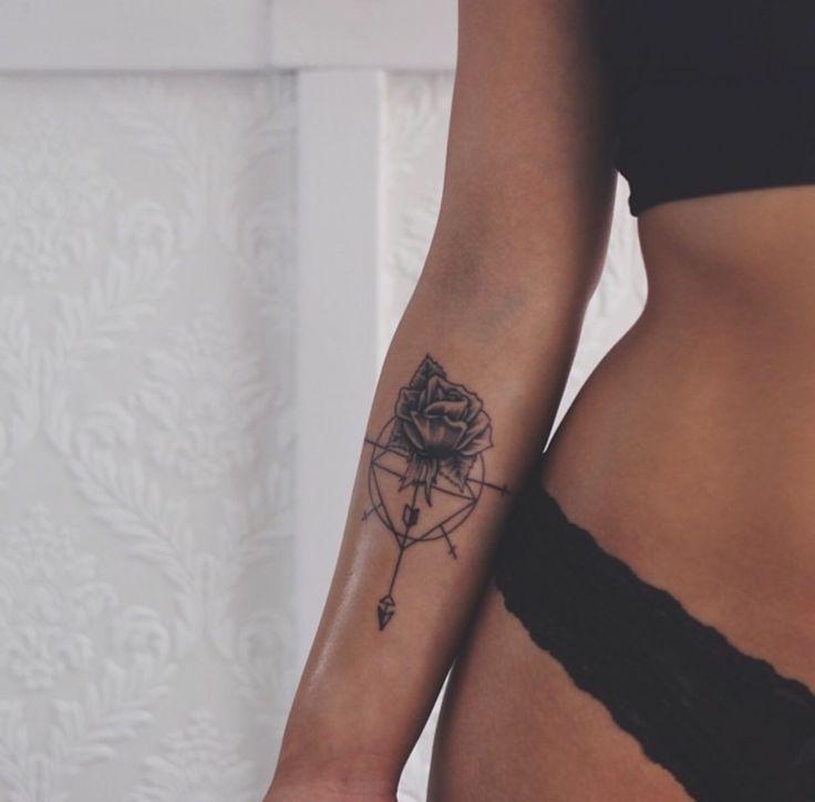 Tattoo rose arrow underarm arm                                                                                                                                                                                 More