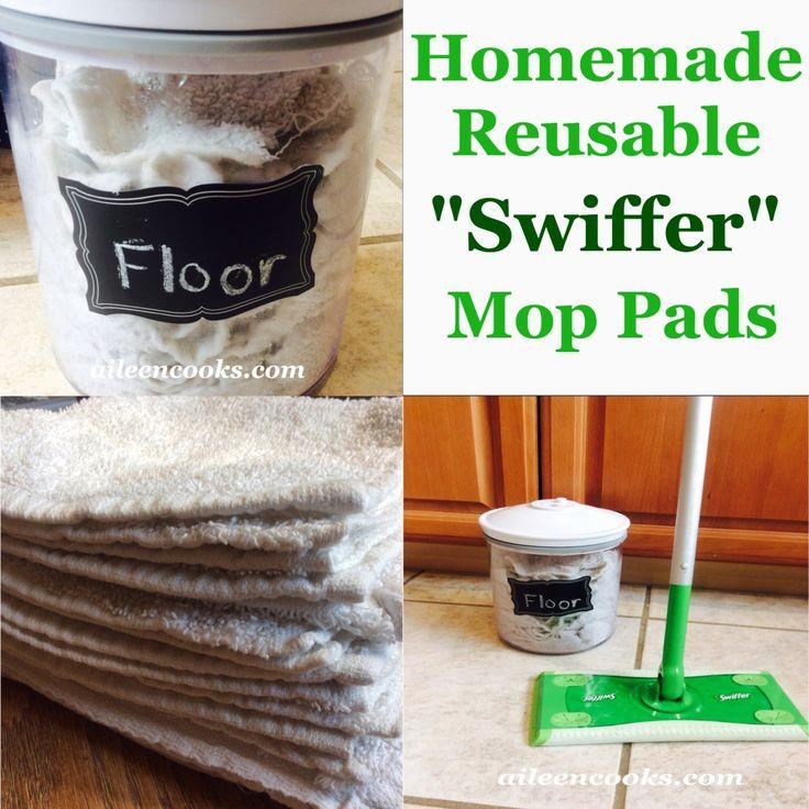 Homemade, reusable swiffer wet mops   aileencooks.com