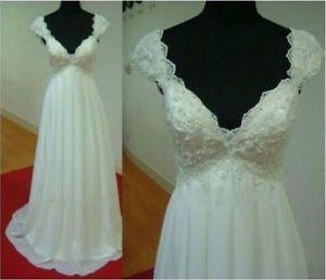 White Ivory Chiffon Bridal Maternity Pregnant Wedding Dress stock size 6 -16