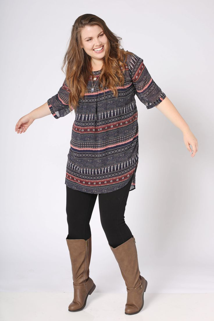 Plus Size Fashion OOTD Pair you tunic with your favorite leggings and tall boots for the ...