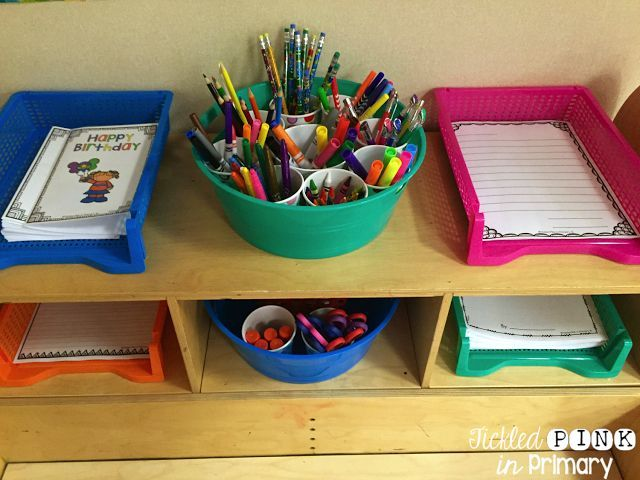 Provide a lot of writing tools and work at your writing center to make it more fun! Students love having a choice in what to do and what to write with.