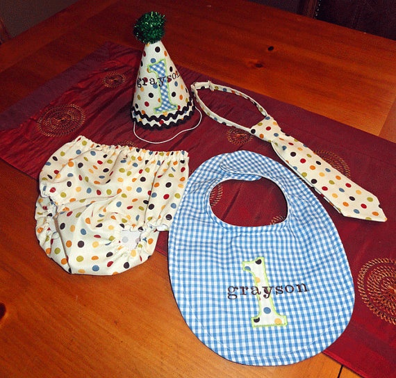 Boys 1st BIrthday Set  Dots and Gingham by SweetFridaysChild, $47.50