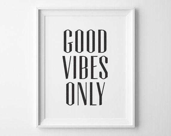 Good Vibes Only Inspirational Print, Motivational Wall Decor, Modern Office Art, Black and White Art, Motivational Quote, College Dorm Decor