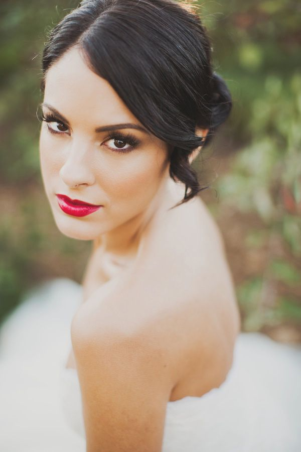 glossy red lip // photo by Nessa K Photography // http://ruffledblog.com/apple-orchard-wedding-inspiration
