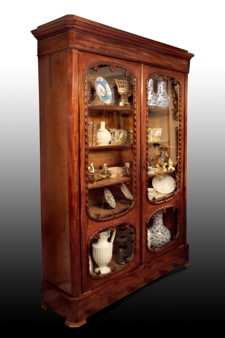grande vitrine biblioth que en acajou xix me si cle antiquit s le clos de lutaine proantic. Black Bedroom Furniture Sets. Home Design Ideas