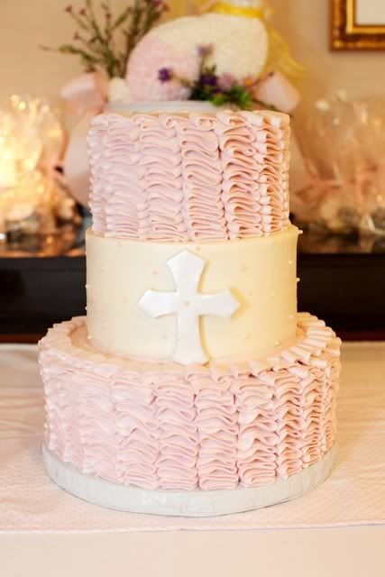 Pink ruffled Christening cake...could I do this?  Maybe I should start practicing....