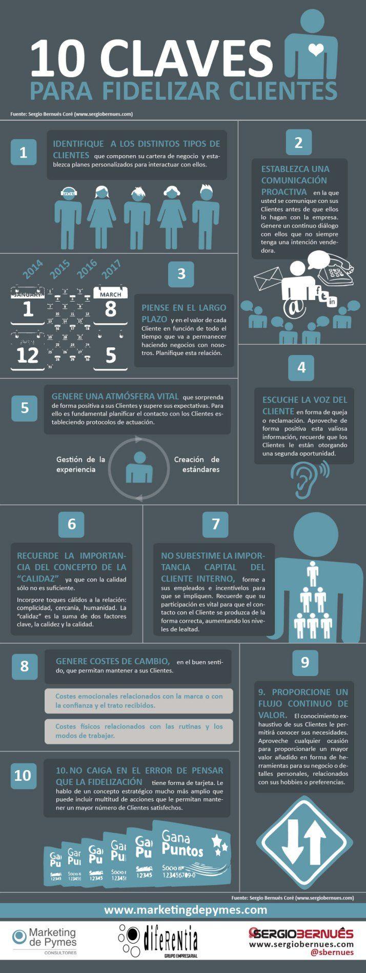 10 claves para fidelizar clientes #infografia #infographic #marketing