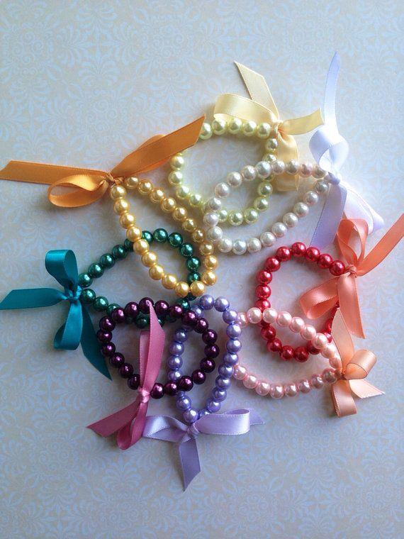 Baby / little girl pearls ribbon bracelet choose by Cutiesdressup, $2.99