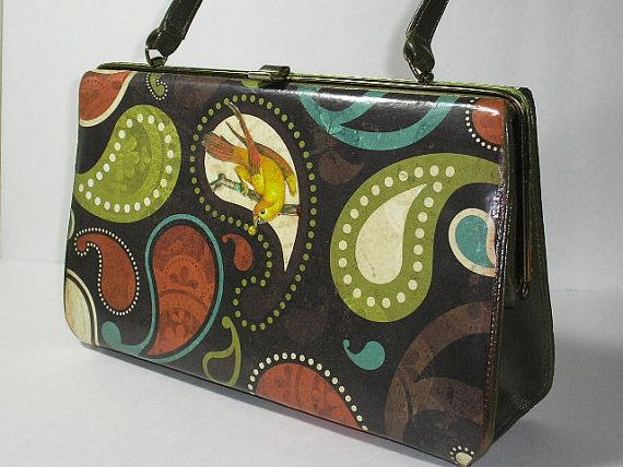 Up Cycled Decoupaged Retro Handbag with Paisley and by borahstyle, $50.00