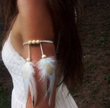 Arctic Star- Feather Armband, feather arm cuff, upper arm band, boho armband, tribal armband, indian armband, native american, style by dieselboutique on Etsy https://www.etsy.com/listing/228965603/arctic-star-feather-armband-feather-arm