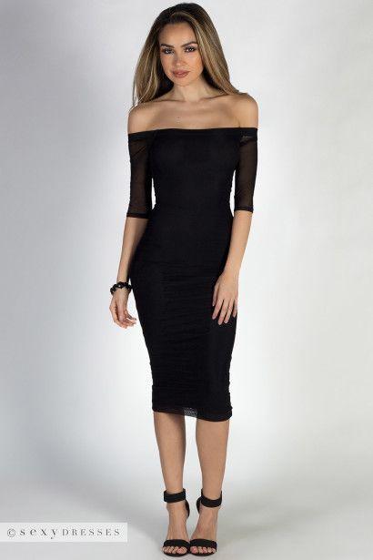 Dangerous Love Black Off Shoulder Mesh Sleeve Midi Dress The