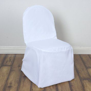 White Polyester Banquet Chair Covers. Contact ABC Rentals Special Events to rent items for your wedding or special event. #SiouxFallsWedding