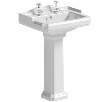 Winchester 2 tap hole full pedestal basin 600mm with waste