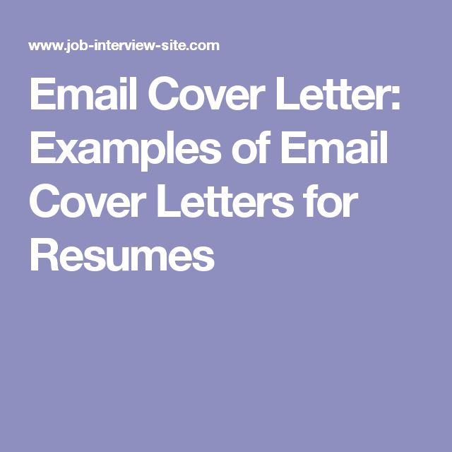 cover letter for emailing resume