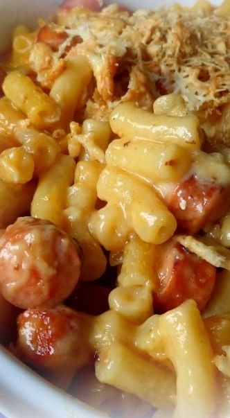 Mac & Cheese Dog Casserole