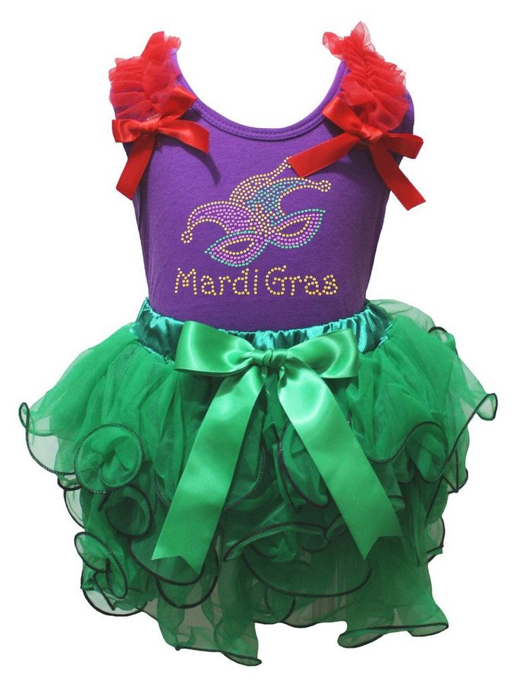 Petitebella Mardi Gras Clown Mark Purple Shirt Green Petal Skirt Outfit Nb-8y (3-12 Months). product includes: a skirt, a shirt. made by lightweight material. stretchy and comfortable cotton shirt. 4-layers fantastic skirt. outfit in bling mardi Grad mardk design.