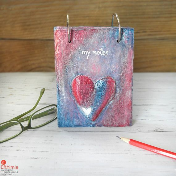 Heart Notebook Handmade Notebook Mixed Media Journal Paper