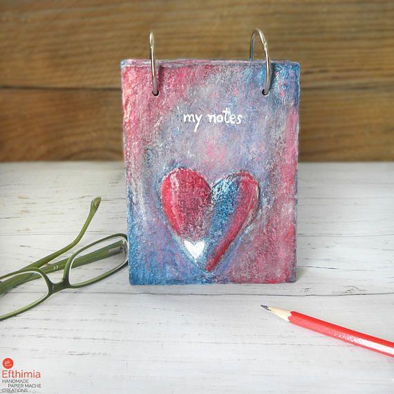 Heart Notebook Handmade Notebook Mixed Media Journal Paper