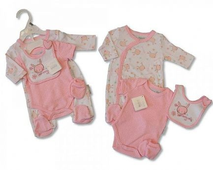 Gorgeous little gift set for a new born baby girl. This is a four piece set with a cute 'Bunny Love' design. Featuring a baby grow, body suit, bib and mitts in calming pink. Available for ages 0-3 months and 'birth' for new borns. 100% cotton.Gorgeous little gift set for a new born baby girl. This is a four piece set with a cute 'Bunny Love' design. Featuring a baby grow, body suit, bib and mitts in calming pink. Available for ages 0-3 months and 'birth' for new borns. 100% cotton.