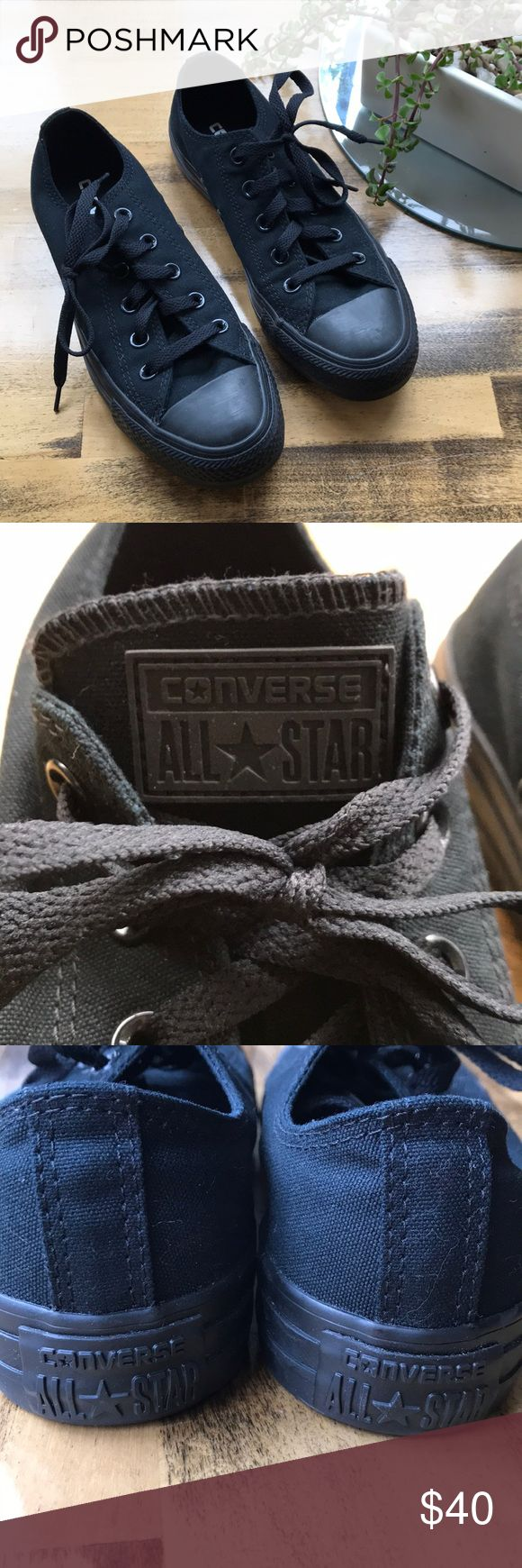 Brand new 👀 ALL black Converse Brand new ALL black Converse. Original box NOT available, but I do have a box from another pair that I can ship with the shoes. Size mens 4, women's 6. I purchased them to use for lifting weights in the gym, but I became ill a few months ago and haven't been able to do much of anything since. Converse Shoes Sneakers