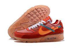 Off White Nike Air Max 90 University RedTeam OrangeHyper JadeBright Mango AA7293 600 Men's Running Shoes Sneakers