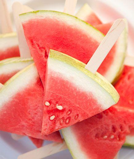 watermelon on a stick, great idea, kids won't make as big of a mess