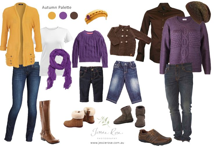 What to Wear – your Autumn Portrait Session -  Purple, brown and mustard yellow palette